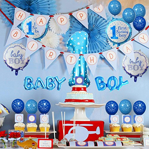 First Birthday Balloons Decorations Kit 12 Inch Pack Of 15