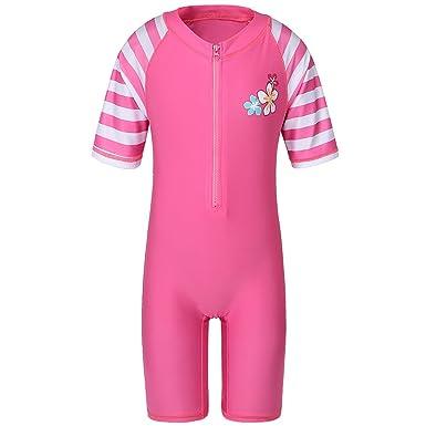 f3a852588f0c9 TFJH E Toddler Girls 1pcs Swimsuit Children UPF 50+ Bathing Suit Bodysuit,  Pink Stripe