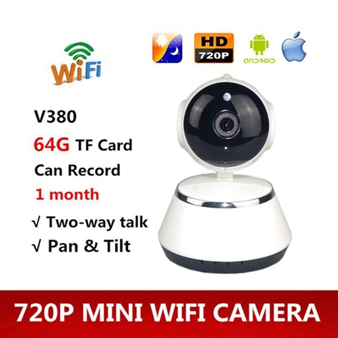 TOOGOO V380 Phone APP HD 720P Mini IP Camera Wifi Camera Wireless P2P  Security Camera Night Vision IR Robot Baby Monitor Support(SD Card Not  Included)