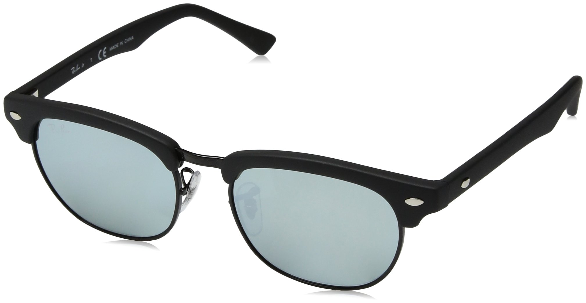RAY-BAN JUNIOR Kids' RJ9050S Clubmaster Kids Square Sunglasses, Matte Black/Grey Flash, 47 mm by RAY-BAN JUNIOR