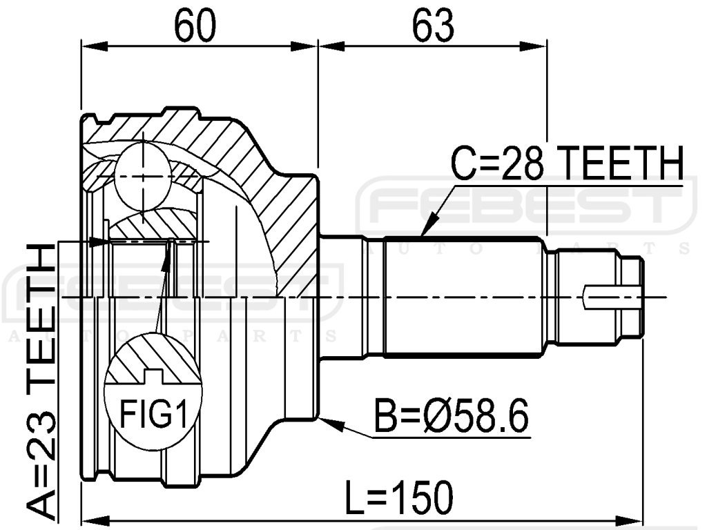 Febest Gg4425500B Outer CV Joint 23X59X28 For Mazda