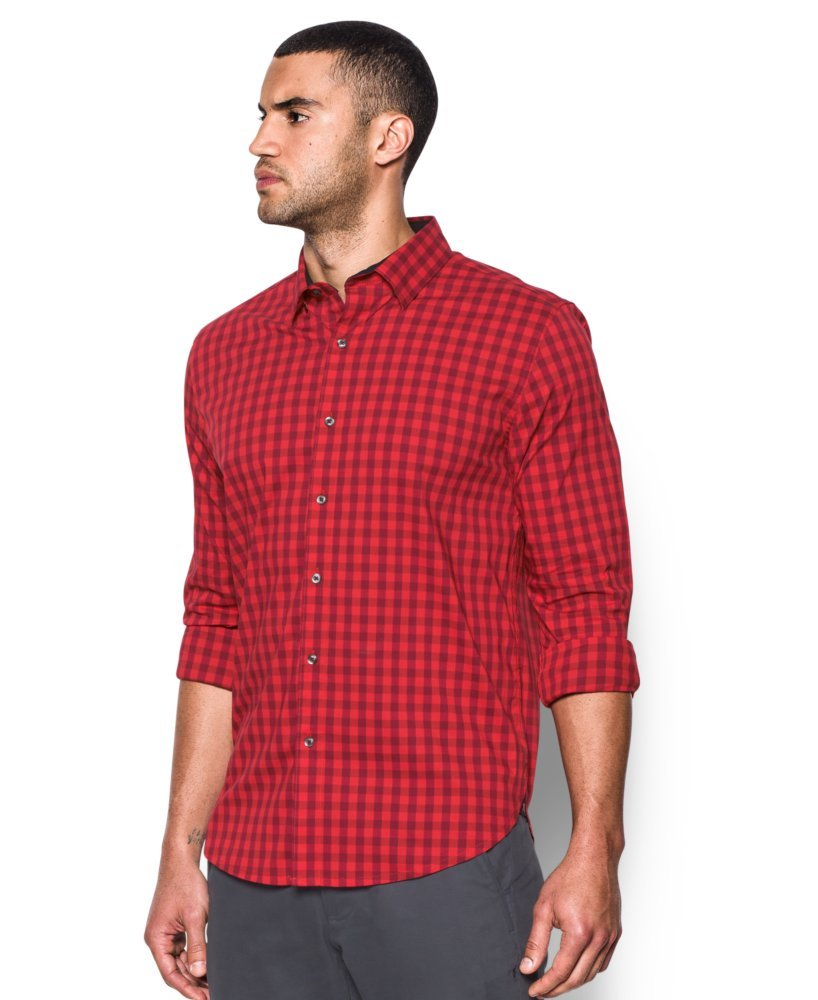 Under Armour Men's Performance Woven Shirt, Red/Cardinal, Small by Under Armour (Image #3)