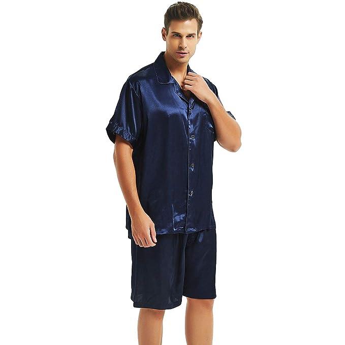 Juego de Pijama de satén de Seda para Hombre Pijamas Ropa S ~ 4 X L Plus - Azul -: Amazon.es: Ropa y accesorios