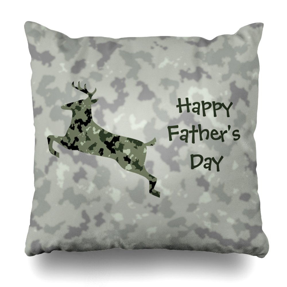 ONELZ Happy Fathers Day with Camo Deer Square Decorative Throw Pillow Case, Fashion Style Zippered Cushion Pillow Cover (20X20 inch)