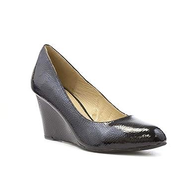 Lotus Womens Black Wedge Patent Court Shoe - Size 8 UK - Black ... a8501fdb6bf