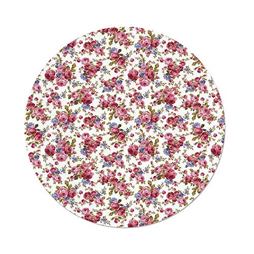 iPrint Polyester Round Tablecloth,House Decor,Rose Flower Pattern Passion Shabby Chic Style Love Wedding Celebrations Themed Decorative,Dining Room Kitchen Picnic Table Cloth Cover,for Outdoor Indoor