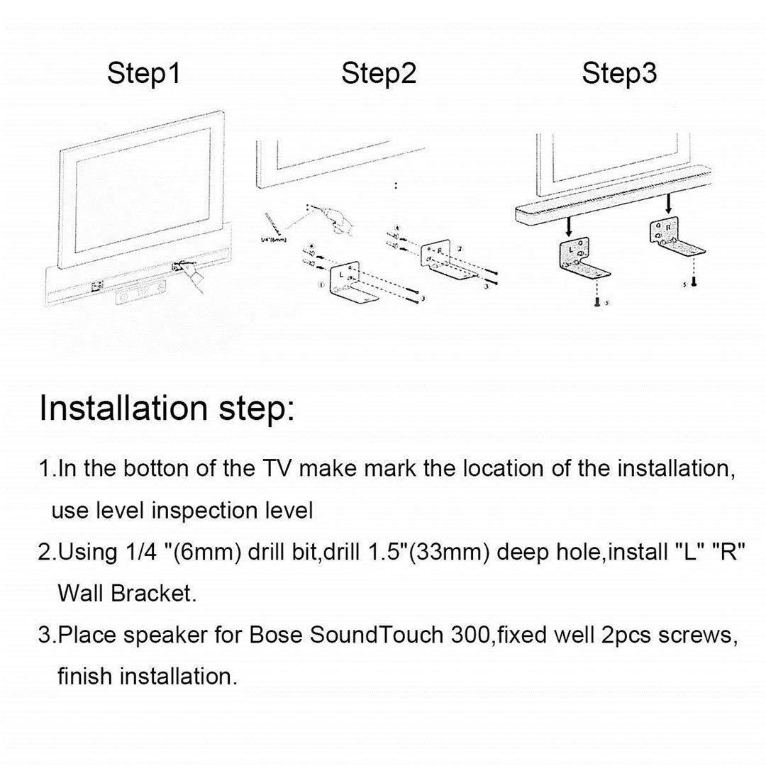 Staffa da parete per Bose altoparlante soundbar wb-300 Soundtouch 300 soundbar 500 soundbar 700 nero nuovo