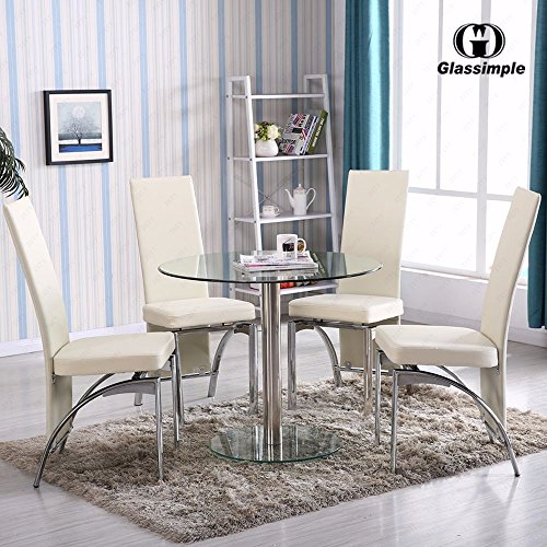 Kissemoji 5 Piece Dining Table Set Round Glass 4 Chairs (4 Breakfast Glasses)