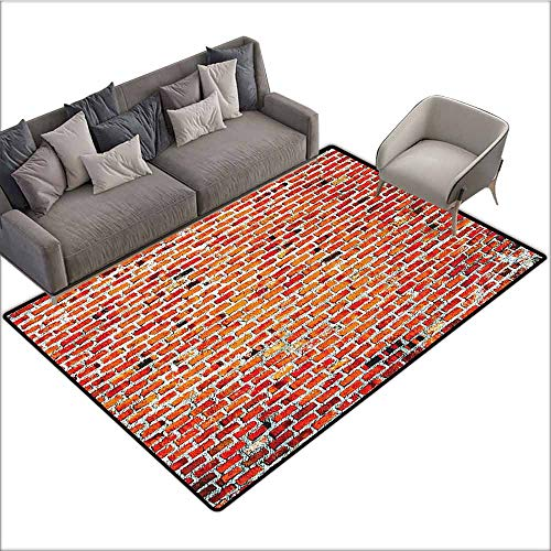 Cute Design Anti-Slip Floor MAT Colorful Rustic Home Decor,Brick Wall with Decorative Bricks Grunge Style Rampart Pattern,Tile Red Black White 48