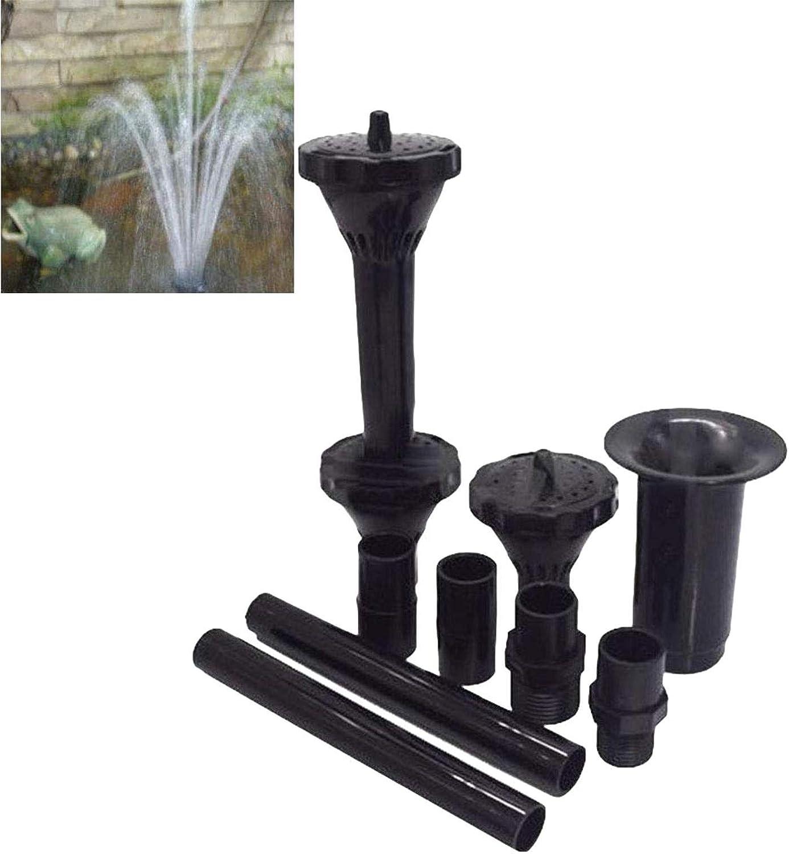 SALAKA 9Pcs Cabezas de Boquilla de Fuente de Agua Negra Tubos de extensi/ón Cabezas de pulverizaci/ón Kit de Boquilla de Fuente peque/ña