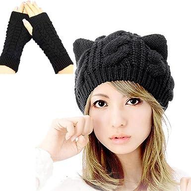 TinkSky Oreilles de chat mignon automne hiver en forme filles de femmes  Crochet tressé Ski tricot ... b78493b0bc8