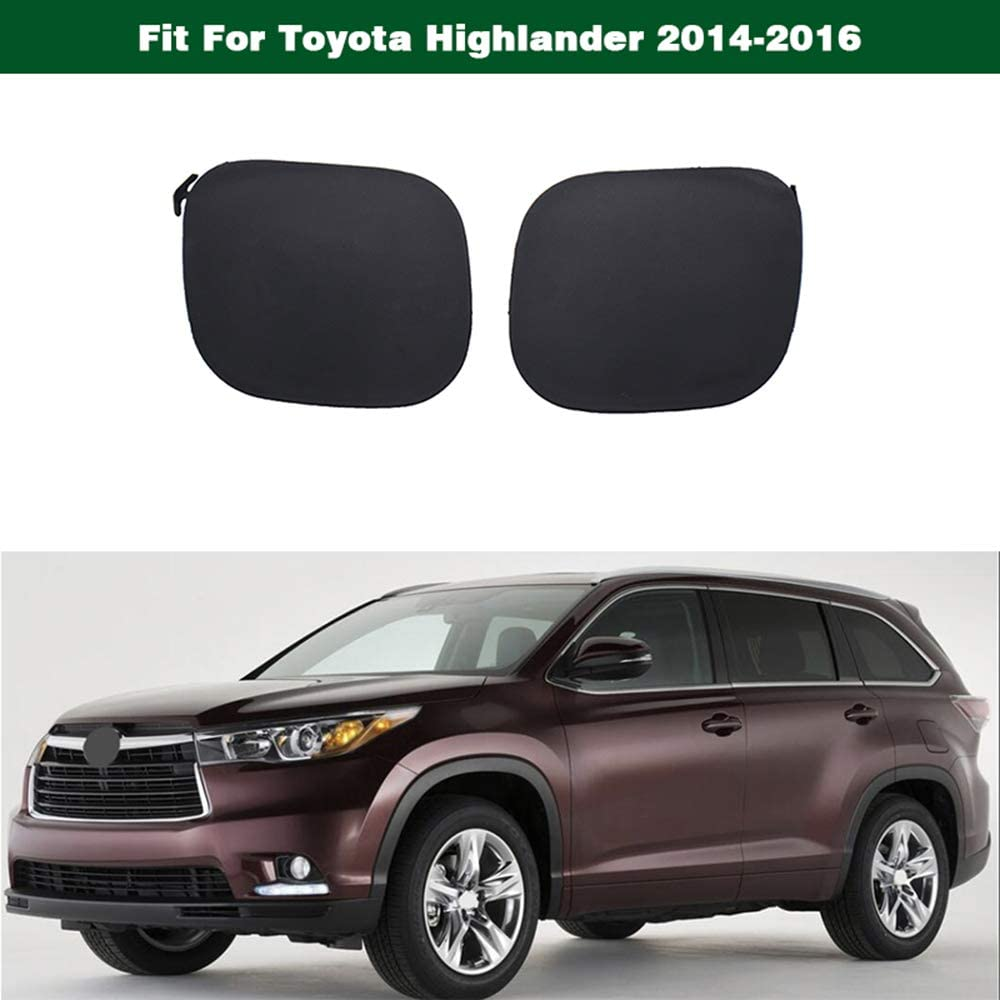 1Pair Front Bumper Tow Hook Cover Cap Unpainted Generic Fit For Toyota Highlander 2014-2016
