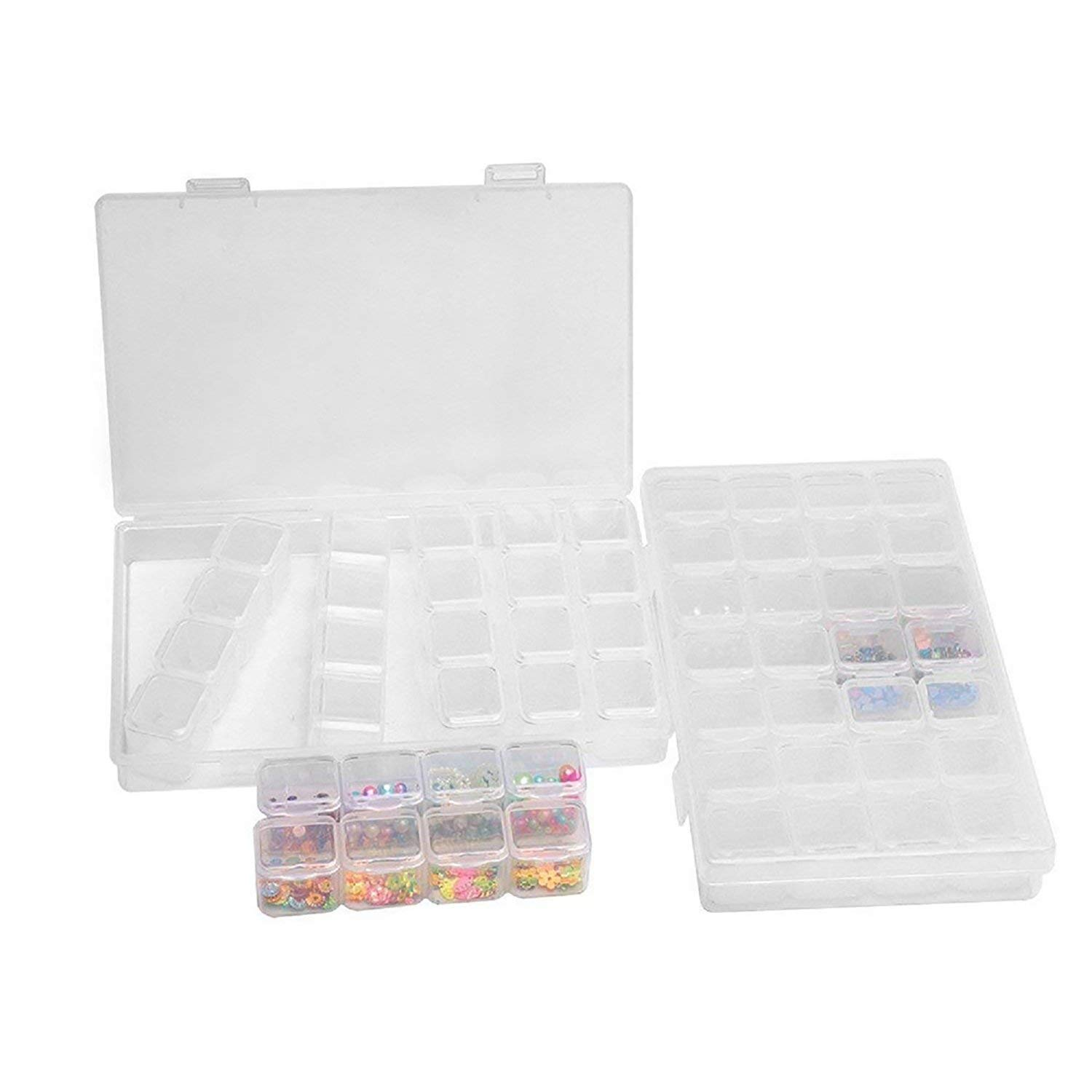 Clear Bead Container 2 / 3 Pack 28 Grids Diamond Embroidery Box with Secure Lid Removable Divider Hard Plastic Transparent Jewelry Storage Case Makeup Comestic Organizer for Seed Craft Making Accessories Centtechi