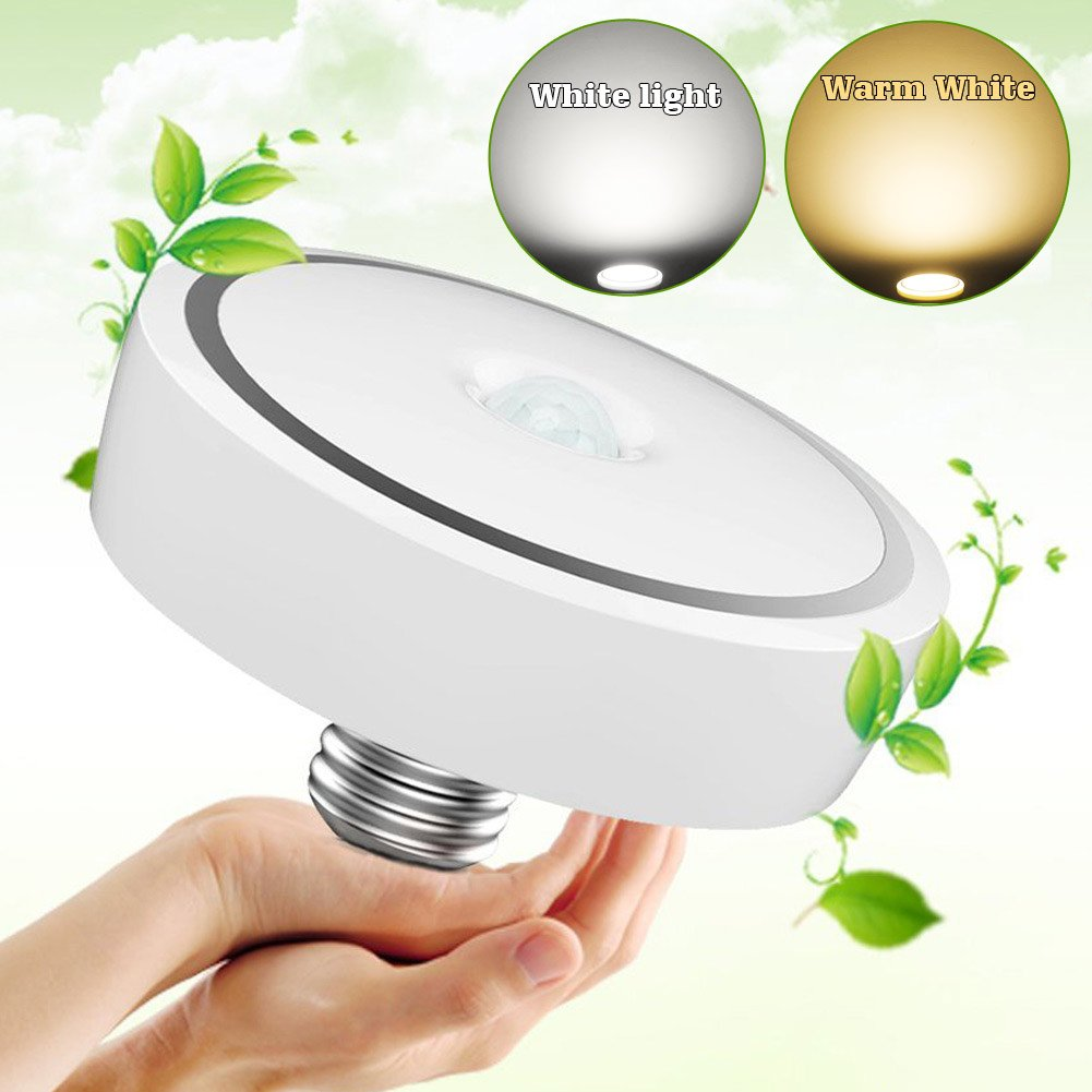 NetEra 12W White Auto Switch PIR Motion Sensor Light Induction Ceiling Lamp Bulb For Living Room Exhibition Hall
