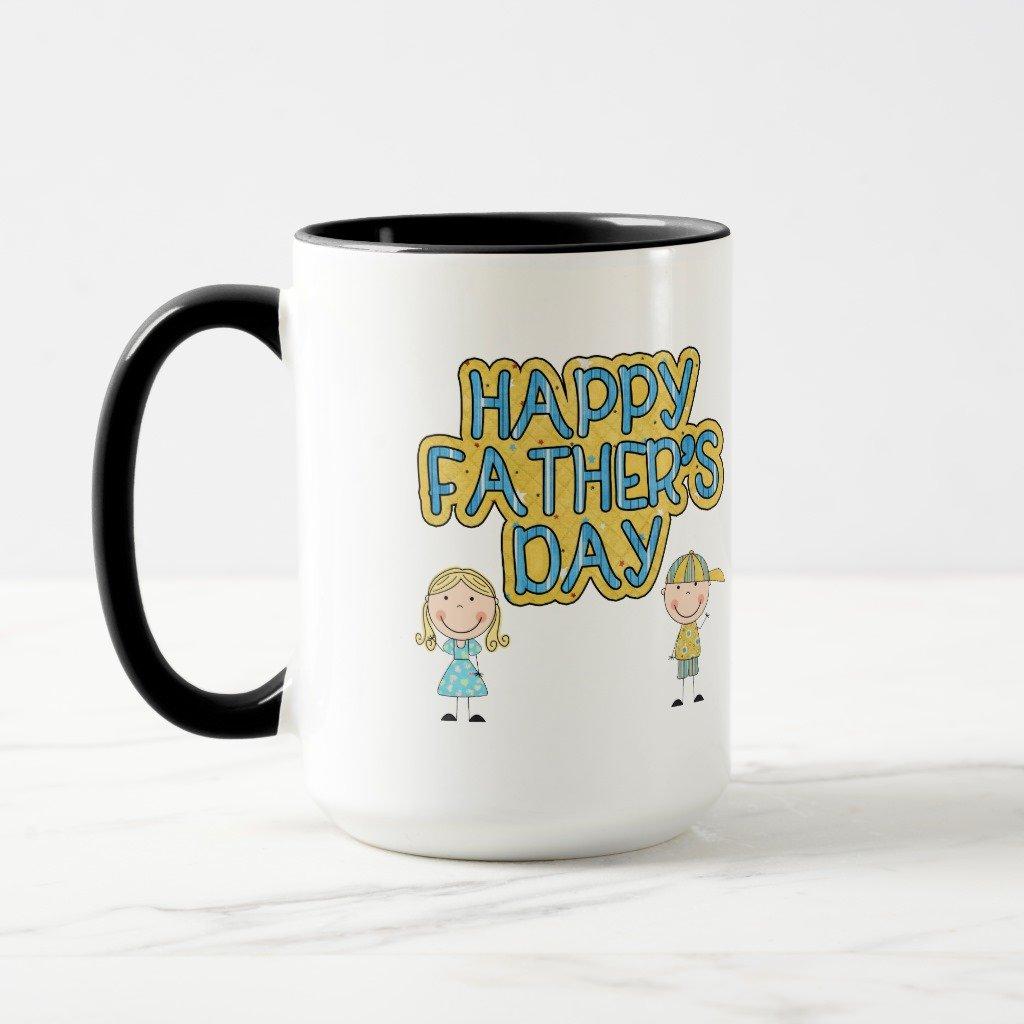 Zazzle Happy Fathers Day曇りガラスビールマグカップ 15 oz, Combo Mug ブラック a884f478-d0ee-4745-530e-84f9fa5960ff B078VY4ZM2 15 oz, Combo Mug|ブラック ブラック 15 oz, Combo Mug