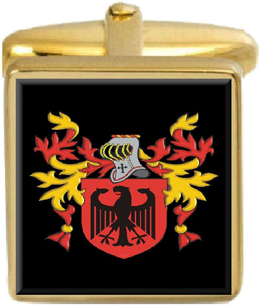 Select Gifts Spencer England Family Crest Surname Coat Of Arms Gold Cufflinks Engraved Box