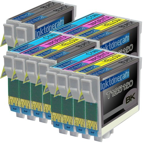 3 Pack , 2 Black of Total 14 Remanufactured Epson 125 Ink Cartridges Epson 125 T125120 T125220 T125320 T125420 Black Cyan Magenta Yellow Combo Set, Office Central