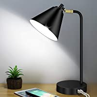 Industrial 3 Way Dimmable Touch Control Desk Lamp with 2 USB Ports & AC Outlet Bedside Nightstand Reading Lamp Flexible…