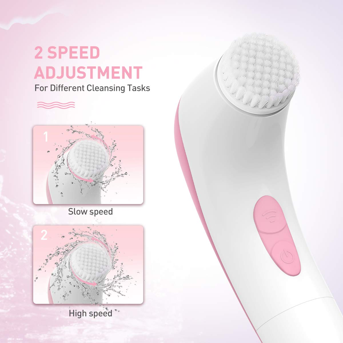 Facial Cleansing Brush, Waterproof Face Brush with 4 Brush Heads and a Travel Case (Light Pink)