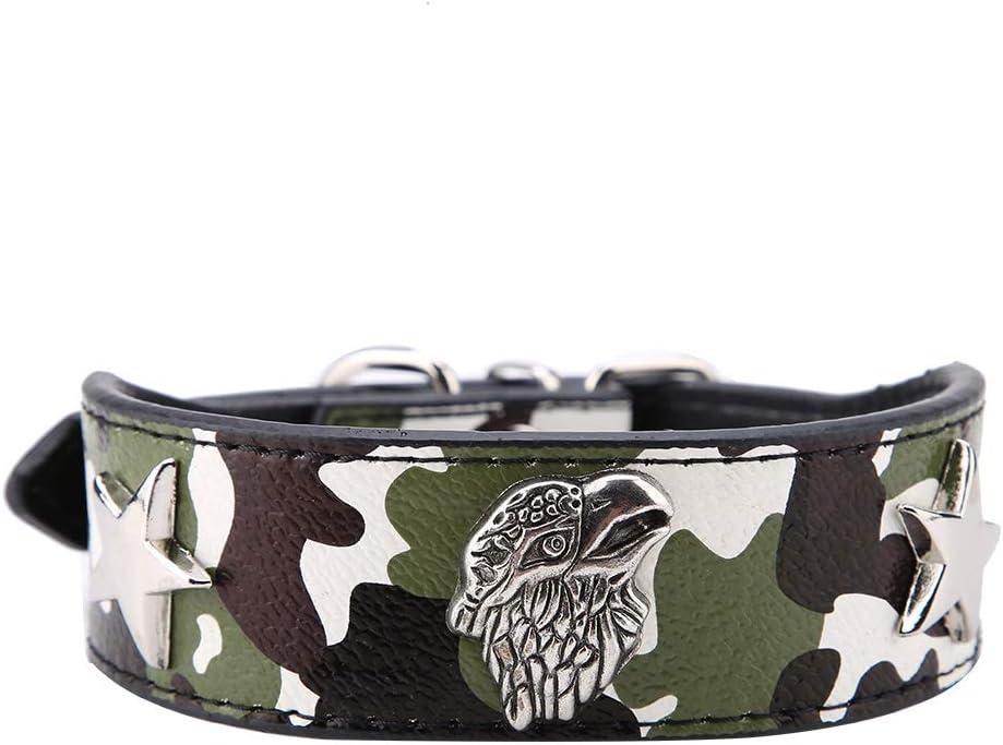 FTVOGUE Collar de Moda para Mascotas Anillo de Cuello de Cuero Suave de PU para Cachorros Pitbull Perros pequeños medianos(XL-01)