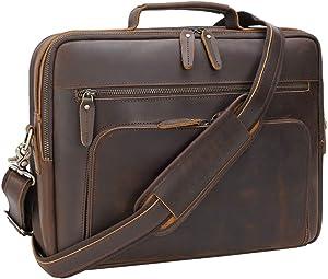Tiding Leather Briefcase for Men 15.6 Inch Retro Laptop Messenger Bag Travel Business Attache Case