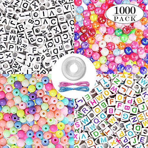 (Quefe 1000pcs 4 Kinds Acrylic Alphabet Letter Beads and Color Round Beads with Elastic Cord Crystal String Cord for Jewelry Making DIY Necklace Bracelet(6mm) (B-2 Kinds))