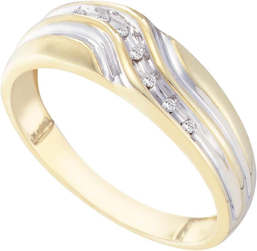 Sonia Jewels 10k Yellow Gold Mens Round Diamond Single Row Two-Tone Wedding Band Ring 1//20 Cttw