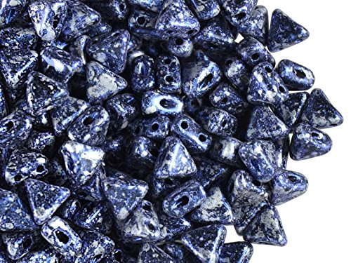 50pcs Kheops Par Puca Beads - Czech Pressed Glass Beads of Triangular Shape, with Two Holes, 6 mm, Tweedy Blue
