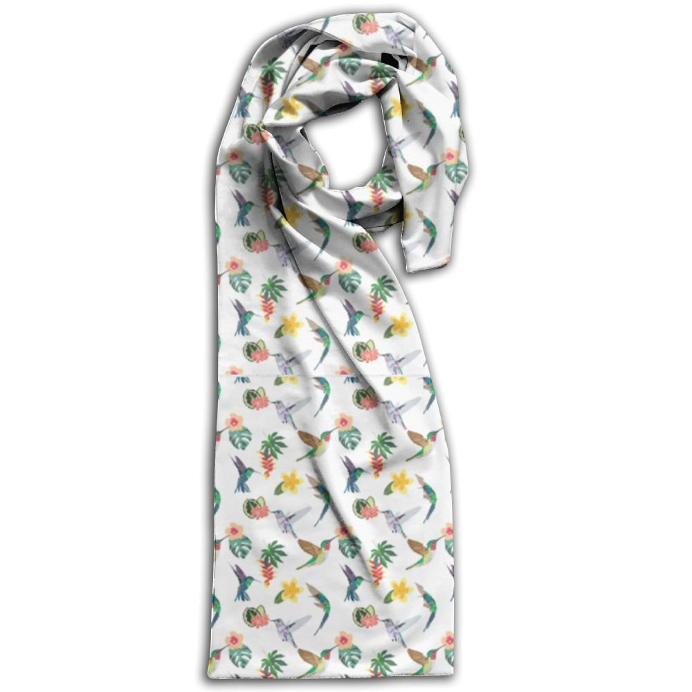 Hummingbird 100% Polyester Soft Scarves Shawls Luxurious Print For Men And Women Gift For Travel