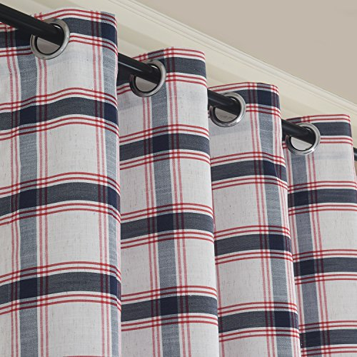 Roslynwood Country Classic Blue Red Check Plaid Grommet Window Curtains Panel Pair Grid Drapes Rustic Drapery 96 Inch Length 2 Panels Custom Size Available