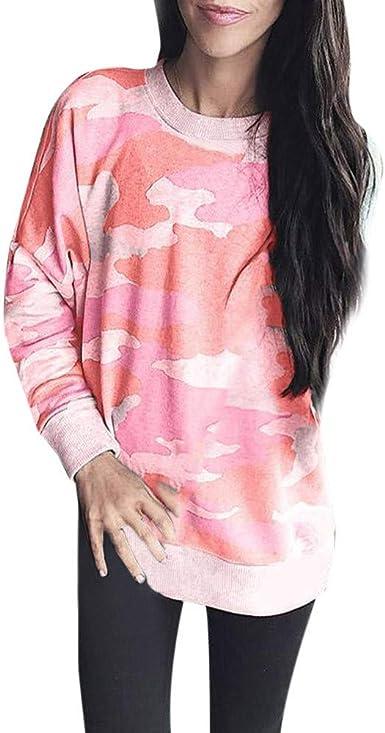 SeñOra Invierno Camisa SeñOra Camuflaje Cuello Redondo Ropa Superior Casual Elegante Top Lady por Linlink: Amazon.es: Ropa y accesorios