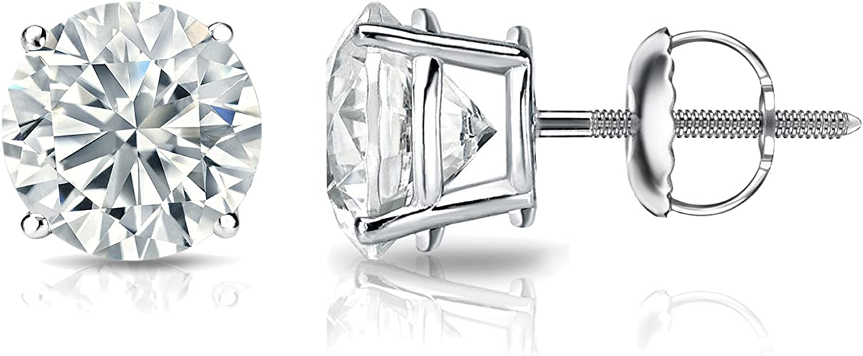 0.50ct Heart Created Diamond Stud Earrings 14K Solid White Gold Solitaire Basket