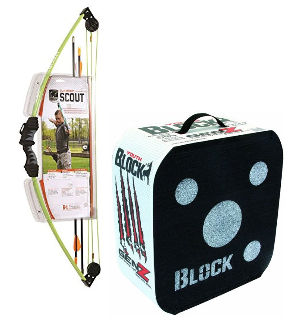 Bundle Includes 2 Items - 1004815 Bear Archery Scout Bow Set Flo Green and Block GenZ Youth Archery Arrow Target by Bear Archery and Field Logic