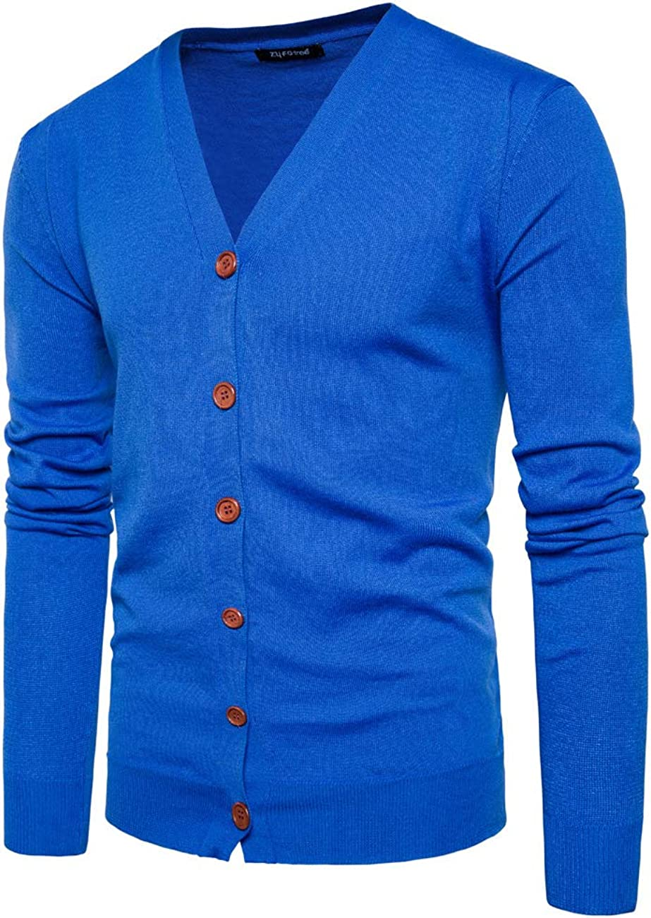 APRAW Mens Casual Slim Fit Soft Cotton V-Neck Button Down Lightweight Knitted Cardigan Sweater