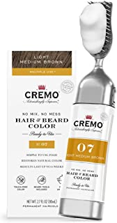 product image for Cremo No Mix, No Mess Hair and Beard Color, Light Medium Brown, 2.7 Fluid Ounces