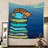 Gzhihine Custom tapestry Ambesonne Cat Lover Decor Collection Tabby Kitten Sleeping Over on a Tower of Colored Pillows in Starry Night Sweet Dreams Print Bedroom Living Room Dorm Tapestry Multi