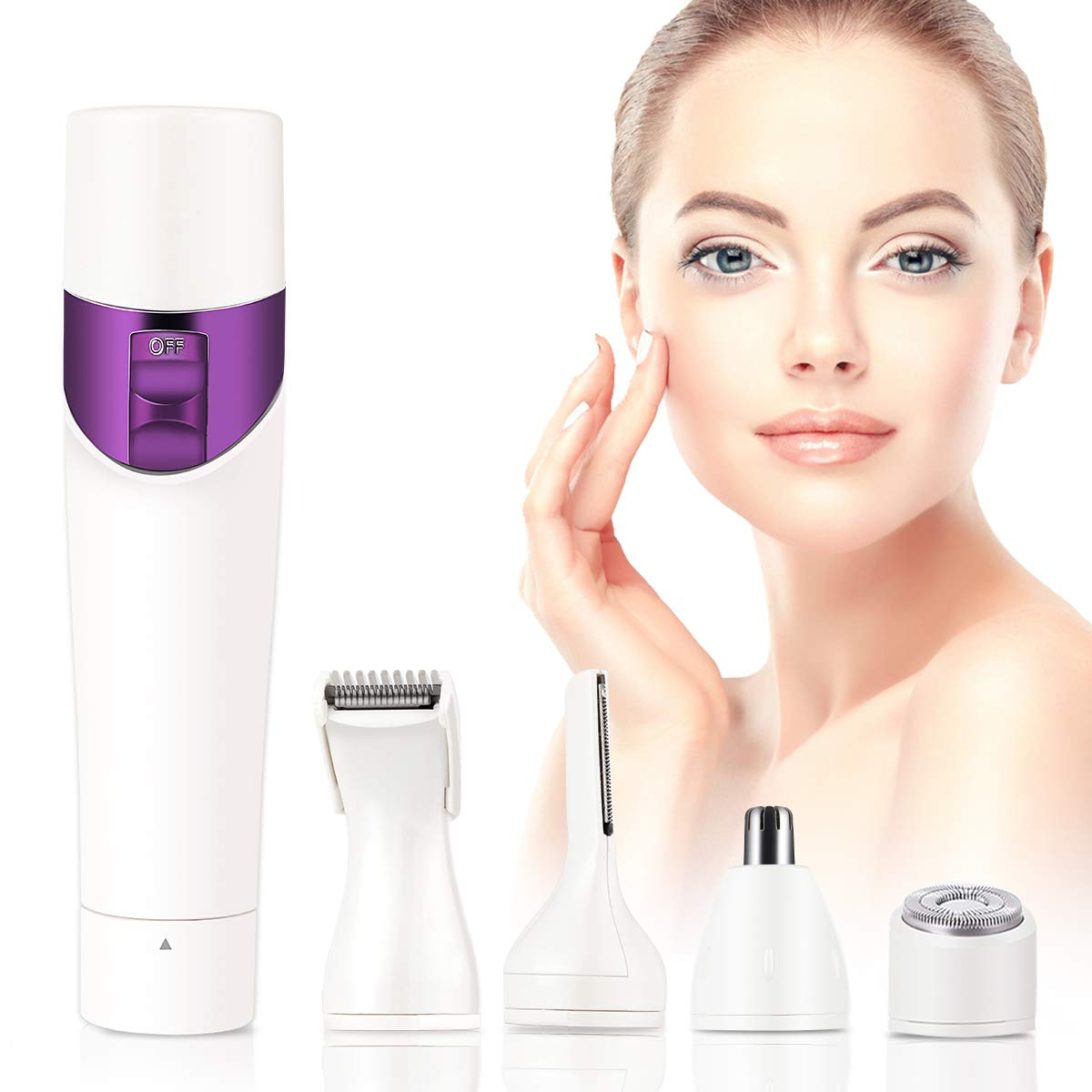 Veru ETERNITY Hair Remover, Painless 4 in 1 Hair Removal for Women No Tugging, Cuts, or Irritation, USB Charger
