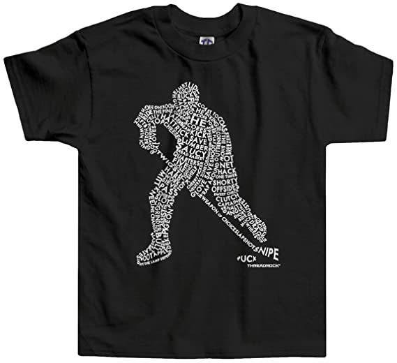 7280a2817 Threadrock Little Boys' Hockey Player Typography Design Toddler T-Shirt 2T  Black