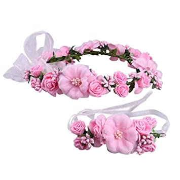 Guirnalda de flores hecha a mano de tela con cuentas de rosa, para boda,