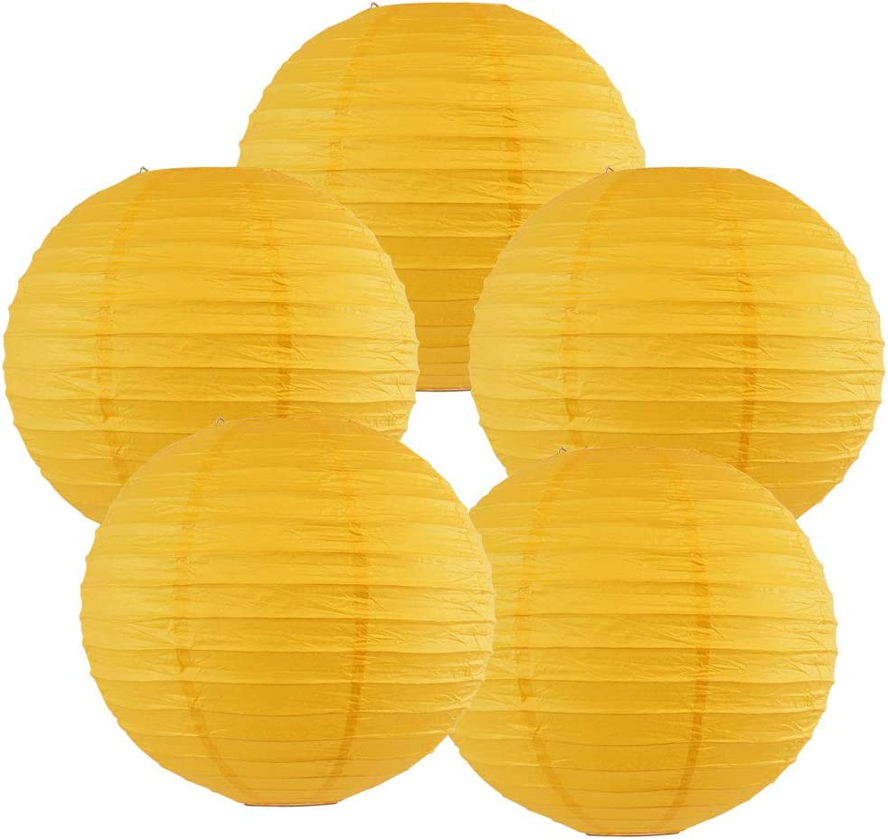 Just Artifacts 8-Inch Pineapple Yellow Chinese Japanese Paper Lanterns (Set of 5, Pineapple Yellow)