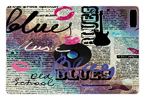 Lunarable Old Newspaper Pet Mat for Food and Water, Retro Blues Music Genre Old Record Electric Guitars Kiss Inscriptions Grunge, Rectangle Non-Slip Rubber Mat for Dogs and Cats, Multicolor