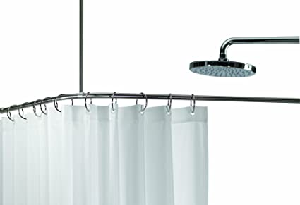 Spirella Slim Corner Enclosure Stainless Steel Shower Curtain Rail