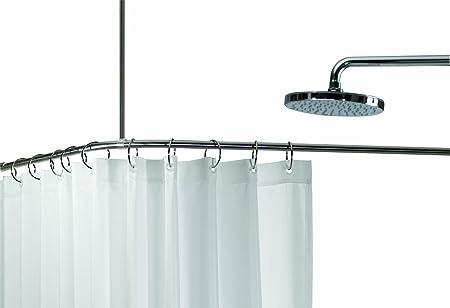Spirella Slim Corner Enclosure Stainless Steel Shower Curtain Rail Size 90 Cm X