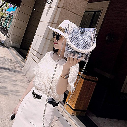 Clear Beach PVC Messenger Bucket Aediea Bags 3 Women Chain Rivets Shoulder Handbags x8a8IqwY