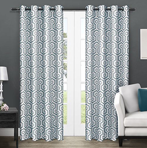 Exclusive Home Trike Geometric Room Darkening Thermal Grommet Top Window Curtain Panels - 54