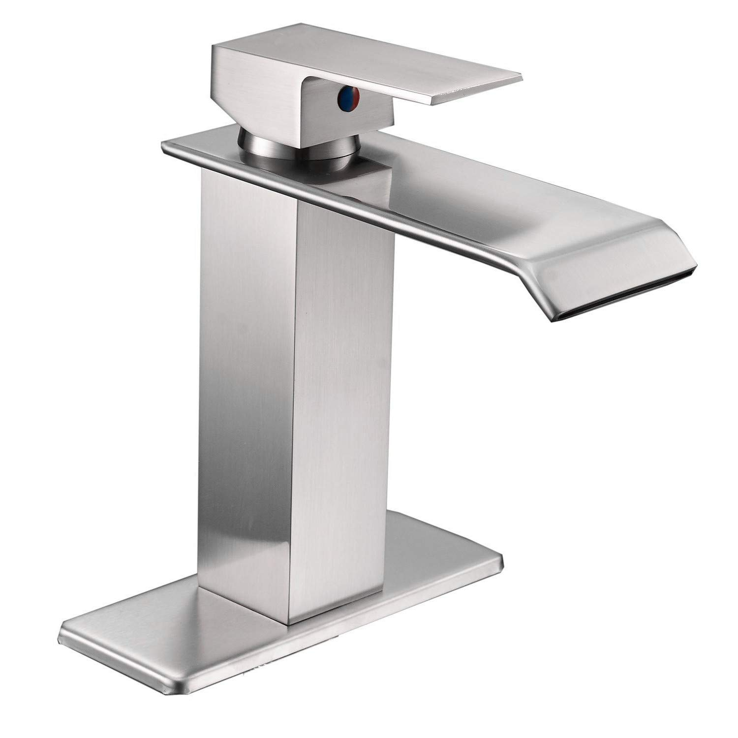 Bathfinesse Bathroom Sink Faucet Waterfall Spout Single Handle One Hole Commercial Lavatory Deck Mount Brushed Nickel