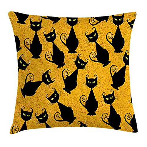 MHKLTA Vintage Throw Pillow Cushion Cover, Black Cat Pattern for Halloween on Orange Background Celebration Graphic Patterns, Decorative Square Accent Pillow Case, 18 X 18 inches, Black Orange