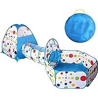 Tienda Campaña Infantil, GLURIZ 3 en 1 Zona de Juegos Infantil : Piscina de Bolas + Casita Infantil + Tunel de Juego : Plegable Parque Bebe Bolas Infantil Jardín Exterior Interior Juguetes Niños Niñas Bebes Casitas Tela(Bolas no está Incluido) (Azul)