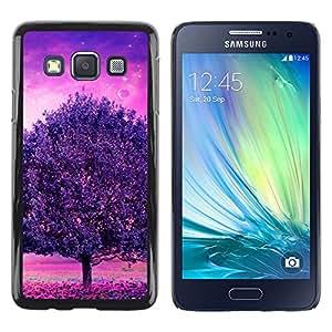 LECELL--Funda protectora / Cubierta / Piel For Samsung Galaxy A3 -- Púrpura Árbol Glow --