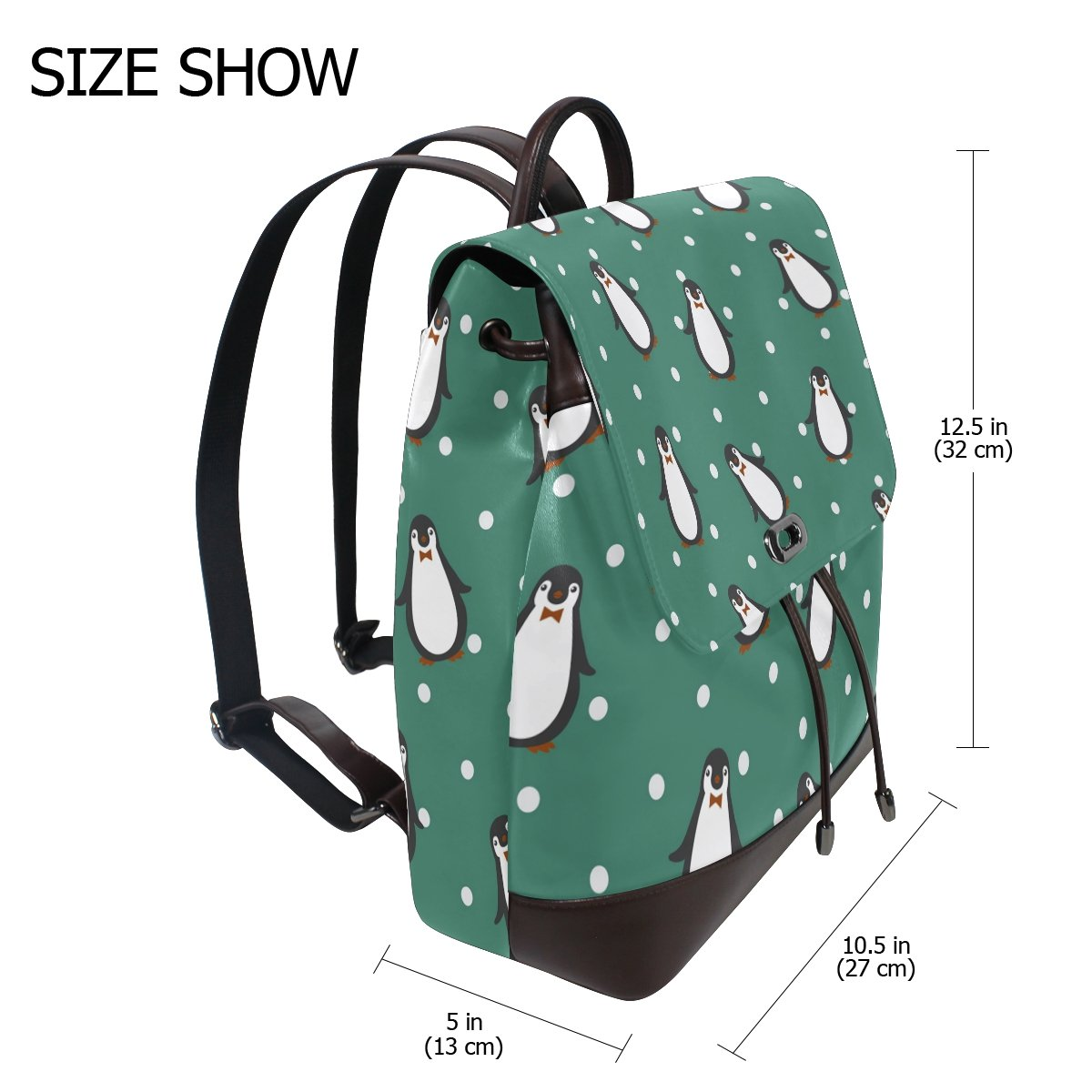 Amazon.com : ALAZA Backpack Penguin Pattern On Green Polka Dot Backpack Shoulder Bag Rucksack PU Leather for Women Girls Ladies : Garden & Outdoor